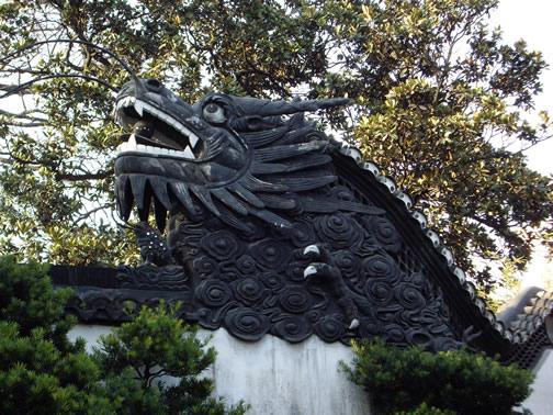 Dragon on Shanghai garden wall