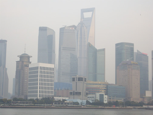 View of Shanghai skyline with pollution